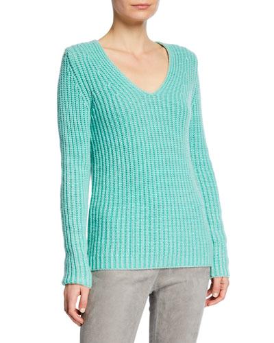 Madita Stone-Washed V-Neck Cashmere Sweater