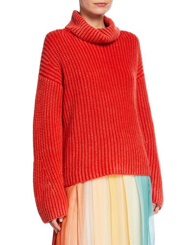 Maryna Stonewashed Turtleneck Oversized Cashmere Sweater