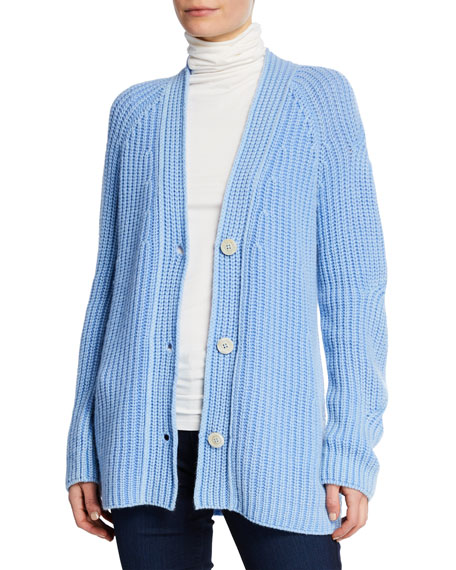 Iris Von Arnim Maggie Stone-Washed Button-Front Cashmere Cardigan