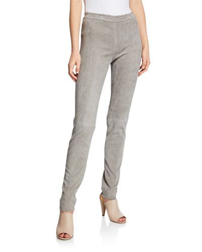 Jody Skinny-Leg Stretch Velour Leather Pants