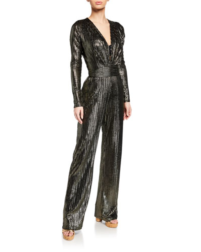 Plunging Metallic Long-Sleeve Coverup Jumpsuit