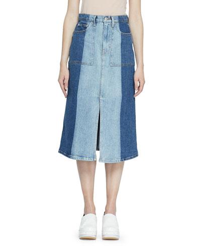 Two-Tone Denim Midi Skirt
