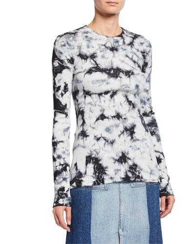 Tie-Dye Long-Sleeve Ribbed Sweatshirt