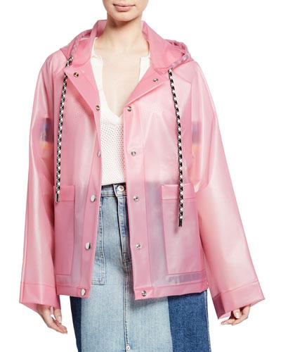 Printed Snap-Front Raincoat