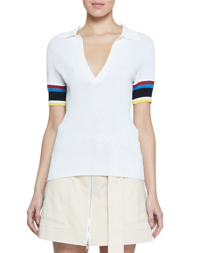 Colorblocked-Sleeve Perforated Polo