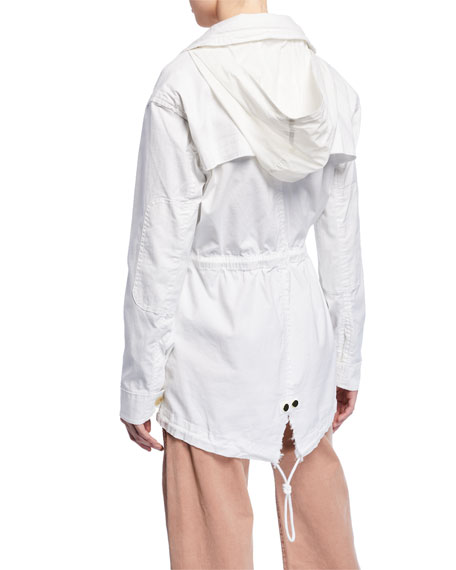 Frayed Zip-Front Field Jacket w/ Stowaway Hood