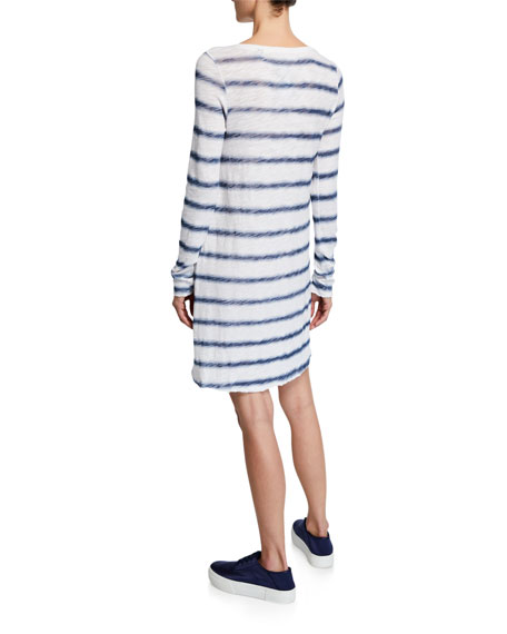 Watermark Stripe Long-Sleeve Slub Jersey Dress