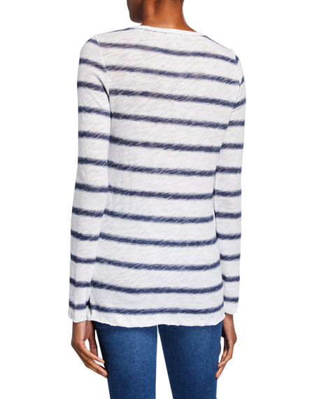 Watermark Striped Crewneck Long-Sleeve Slub Jersey Tee