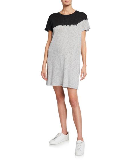 Dip-Dye Short-Sleeve Slub Jersey Cotton Dress