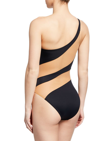 a84dab03c9 Norma Kamali Snake Mesh One-Shoulder High-Cut One-Piece Swimsuit