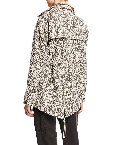 Lunar Leopard Zip-Front Field Jacket with Stowaway Hood