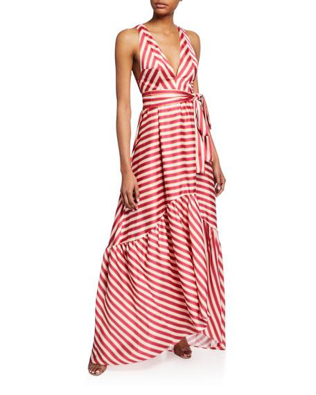 Oksana Striped Tie-Waist Maxi Dress