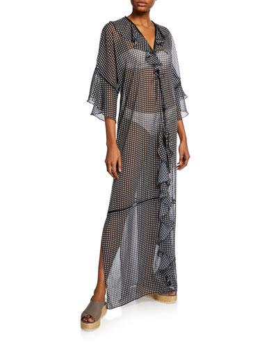 Gingham Ruffle Long Coverup Robe