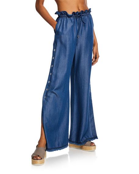 Jonathan Simkhai Pants WASHED DENIM SIDE-SNAP PANTS W/ LACE