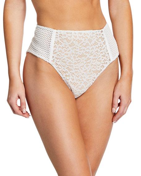 Jonathan Simkhai Lace Combo High-Waist Bikini Bottom