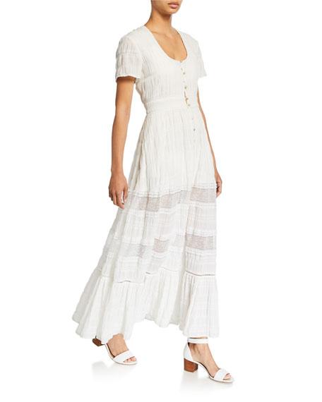 Jonathan Simkhai Dresses LACE COMBO FRONT-SLIT MAXI DRESS