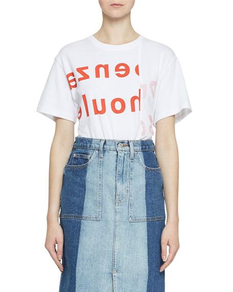 Pswl Shorts ASYMMETRICAL LOGO SHORT-SLEEVE TEE