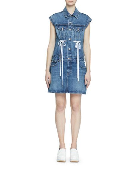 Pswl Dresses BUTTON-DOWN SLEEVELESS RIGID DENIM DRESS W/ DRAWSTRING DETAIL