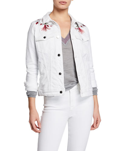 Button-Front Denim Jacket w/ Lily Embroidery