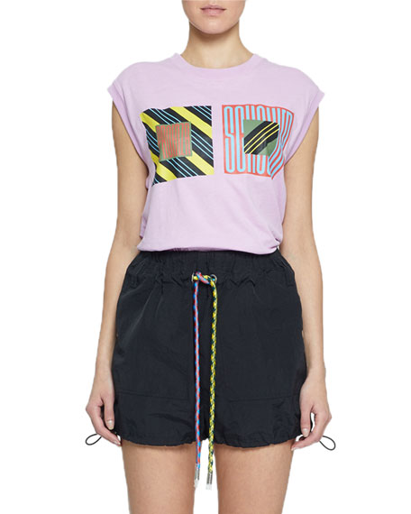 Pswl Tops PRINTED JERSEY MUSCLE TEE