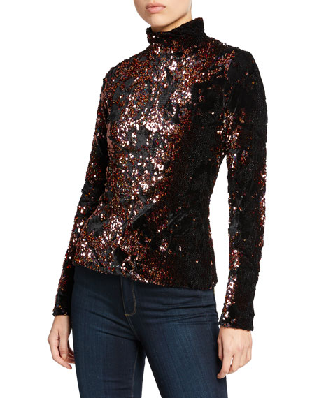 Velvet Sequin Long-Sleeve Turtleneck Top