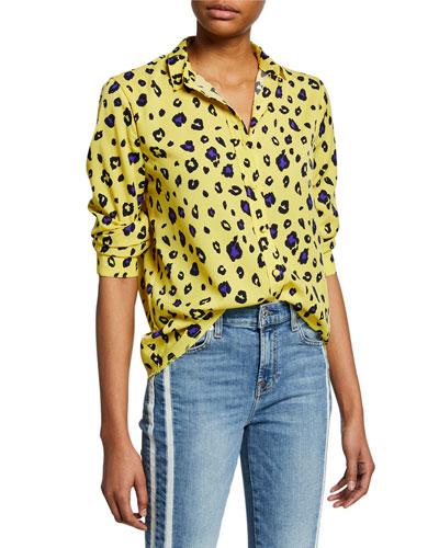 Blythe Cheetah-Print Button-Down Long-Sleeve Blouse