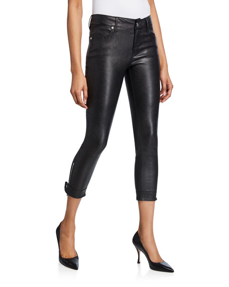Rta Pants SMITH CROPPED LEATHER SKINNY PANTS