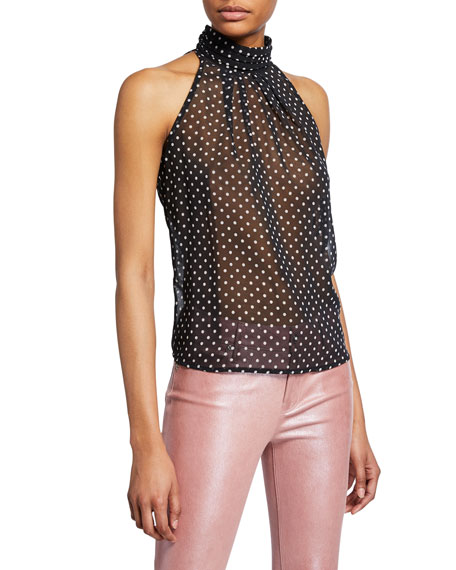 Rta Tops YVETTE POLKA-DOT MOCK-NECK HALTER TOP
