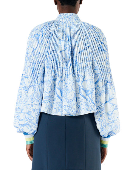 cd9740e2b6564 Tibi Isa Toile Pleated Cropped Blouse with Ribbed Cuffs