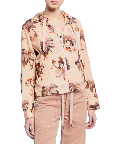 Palm-Tree Printed Zip-Front Hooded Wind Jacket
