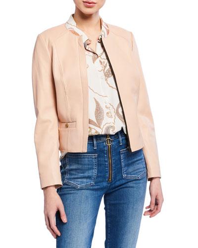 Light Feminine Zip-Front Lambskin Leather Jacket