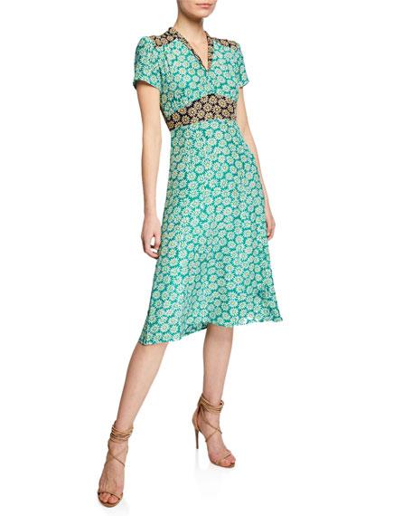 Hvn Dresses MORGAN DAISY-PRINT SILK V-NECK DRESS