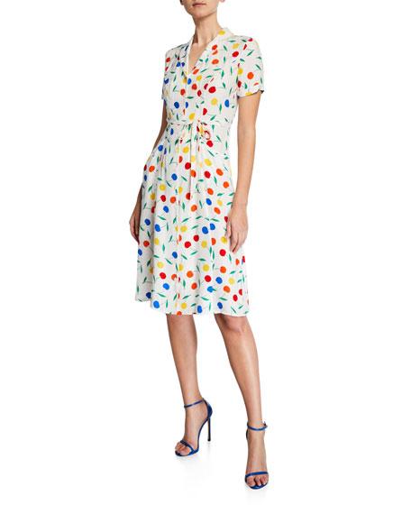 Hvn Dresses MARIA CHERRY-PRINT BUTTON-DOWN MIDI DRESS
