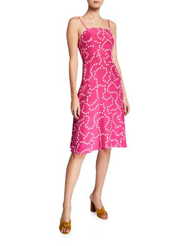 Nora Heart-Print Square-Neck Silk Midi Dress
