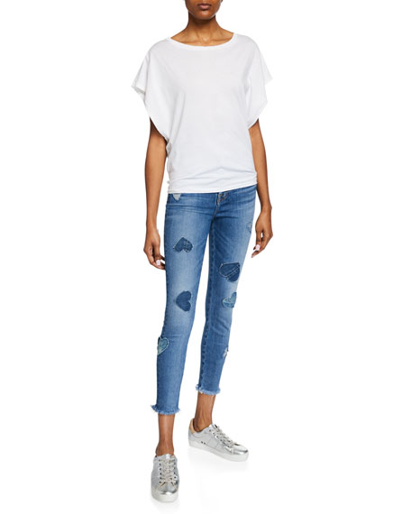 High-Rise Cropped Skinny Jeans w/ Heart Patches