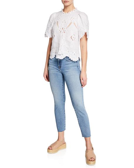 Roxanne Mid-Rise Skinny Jeans w/ Cutoff Hem