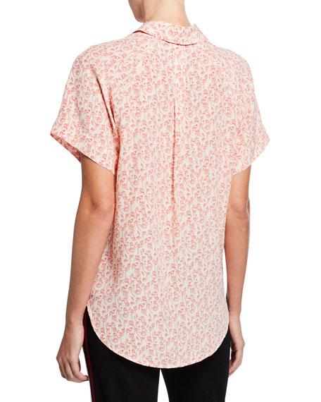 Floral-Print Short-Sleeve Silk Button-Front Shirt