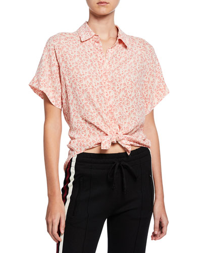 Floral-Print Short-Sleeve Silk Button-Front Shirt