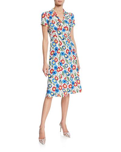 Morgan 40s Sunflower Print Silk Dress