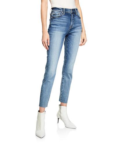 High-Rise Ankle Skinny Jeans w/ Cutoff Hem