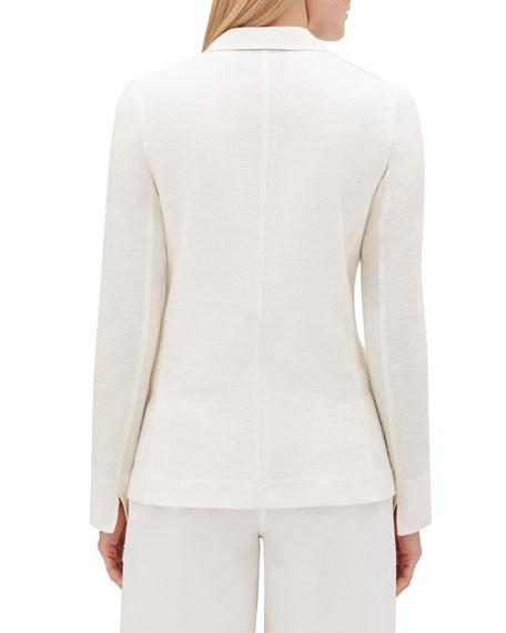 Vangie Rattan-Weave Button-Front Linen Jacket