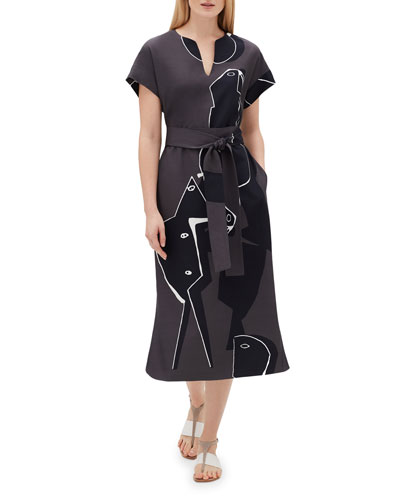 Cosimia Portrait-Print Short-Sleeve Belted Drape Cloth Dress