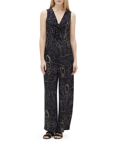 Adelphi Progressive-Print V-Neck Sleeveless Jumpsuit