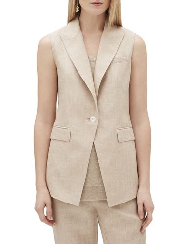 Vanya One-Button Nexus Linen Vest