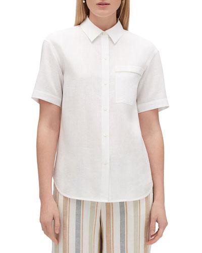 Sublime Justice Button-Front Short-Sleeve Linen Blouse