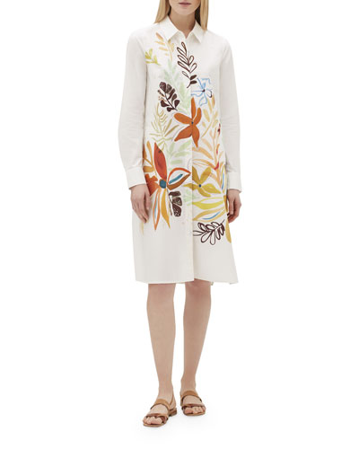 Porto Fiore-Print Button-Front Cotton Shirtdress