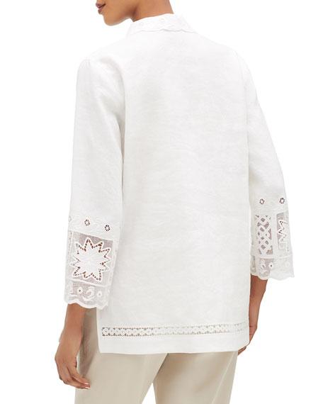Esperanza V-Neck 3/4-Sleeve Summer Linen Blouse