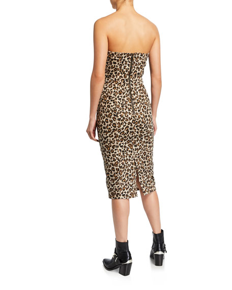Veronica Beard Liza Leopard-Print Strapless Dress c74341a6b