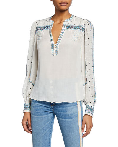 Carta Embroidered Long-Sleeve Blouse