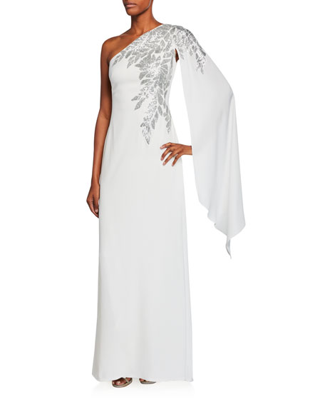 Tadashi Shoji  CREPE ONE-SHOULDER GOWN WITH DRAPED-SLEEVE & SEQUIN DETAIL